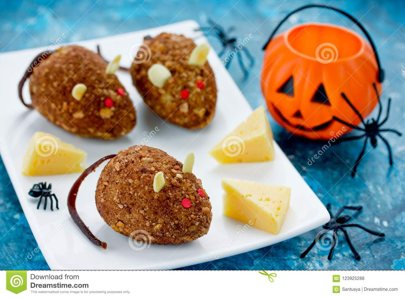 mice cakes - funny and spooky halloween dessert idea for kids stock