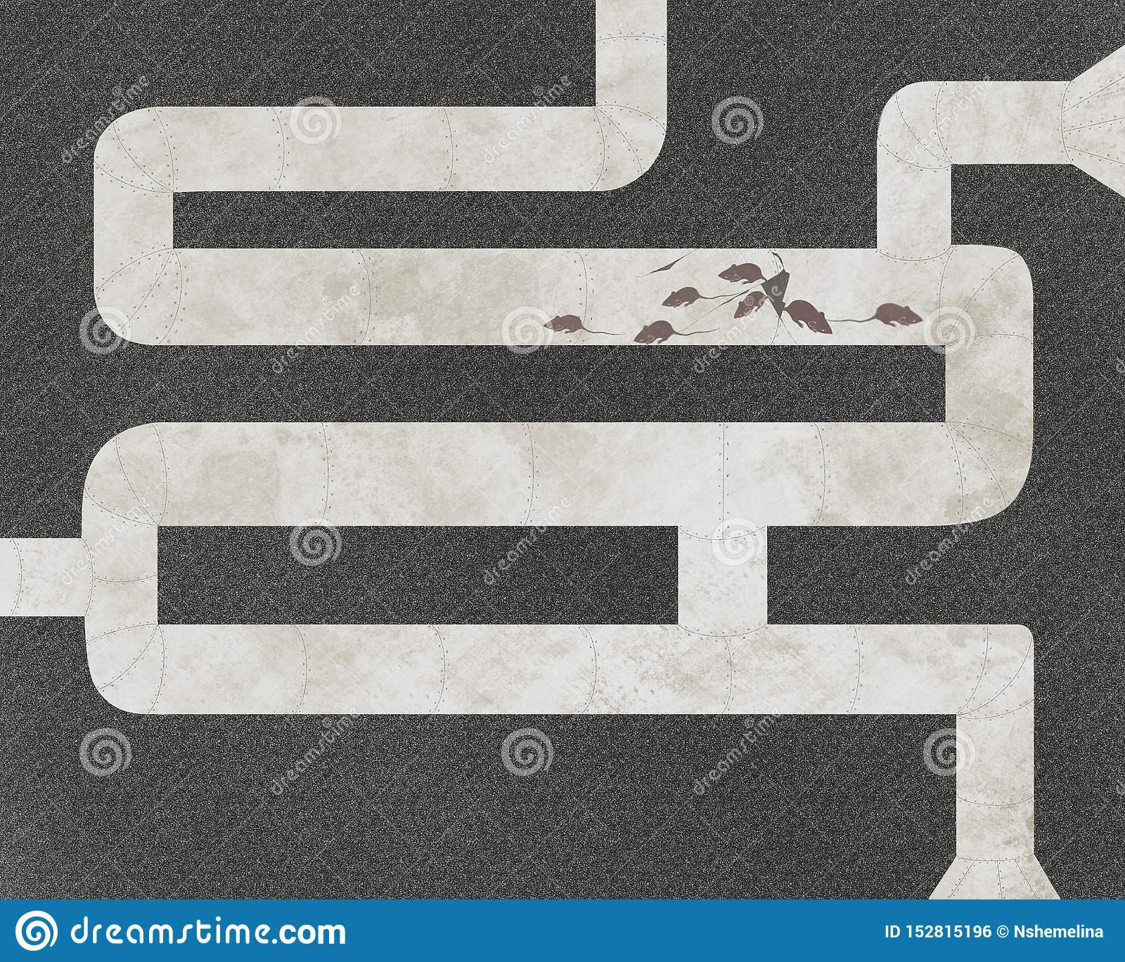 The mice and pipes, abstract graphic illustration