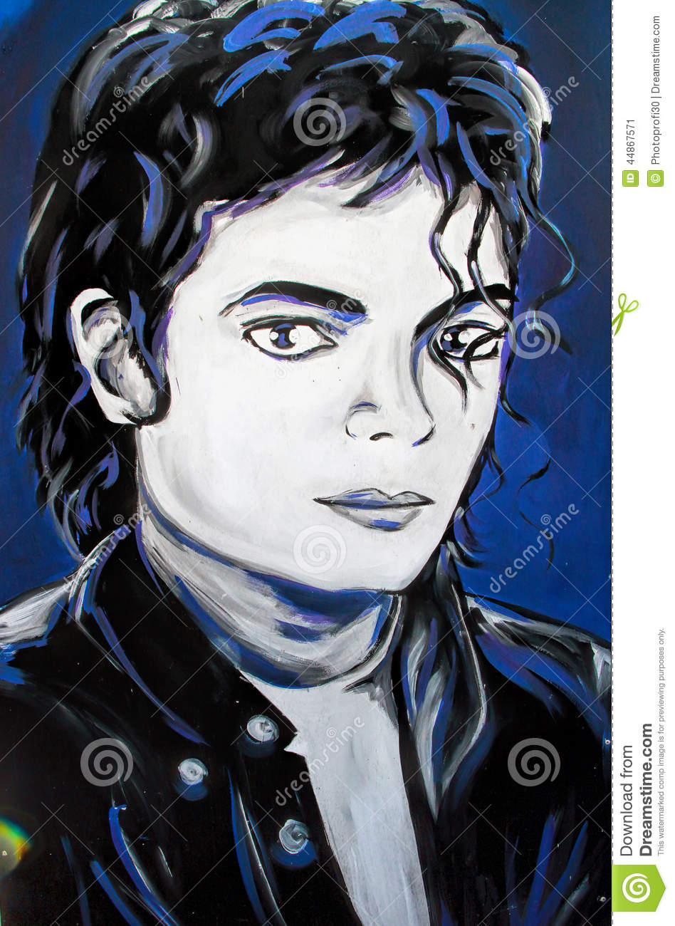 Michael Jackson Graffiti Portrait Editorial Photo Image