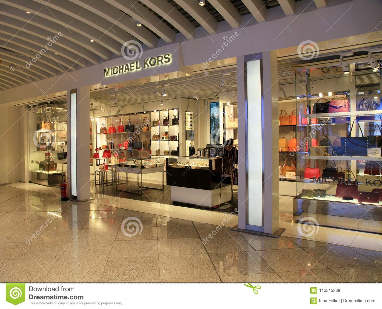 dd2358274df3 ATHENS, GREECE - JANUARY 6, 2018: Michael Kors duty free shop at  Eleftherios Venizelos airport in Athens, Greece