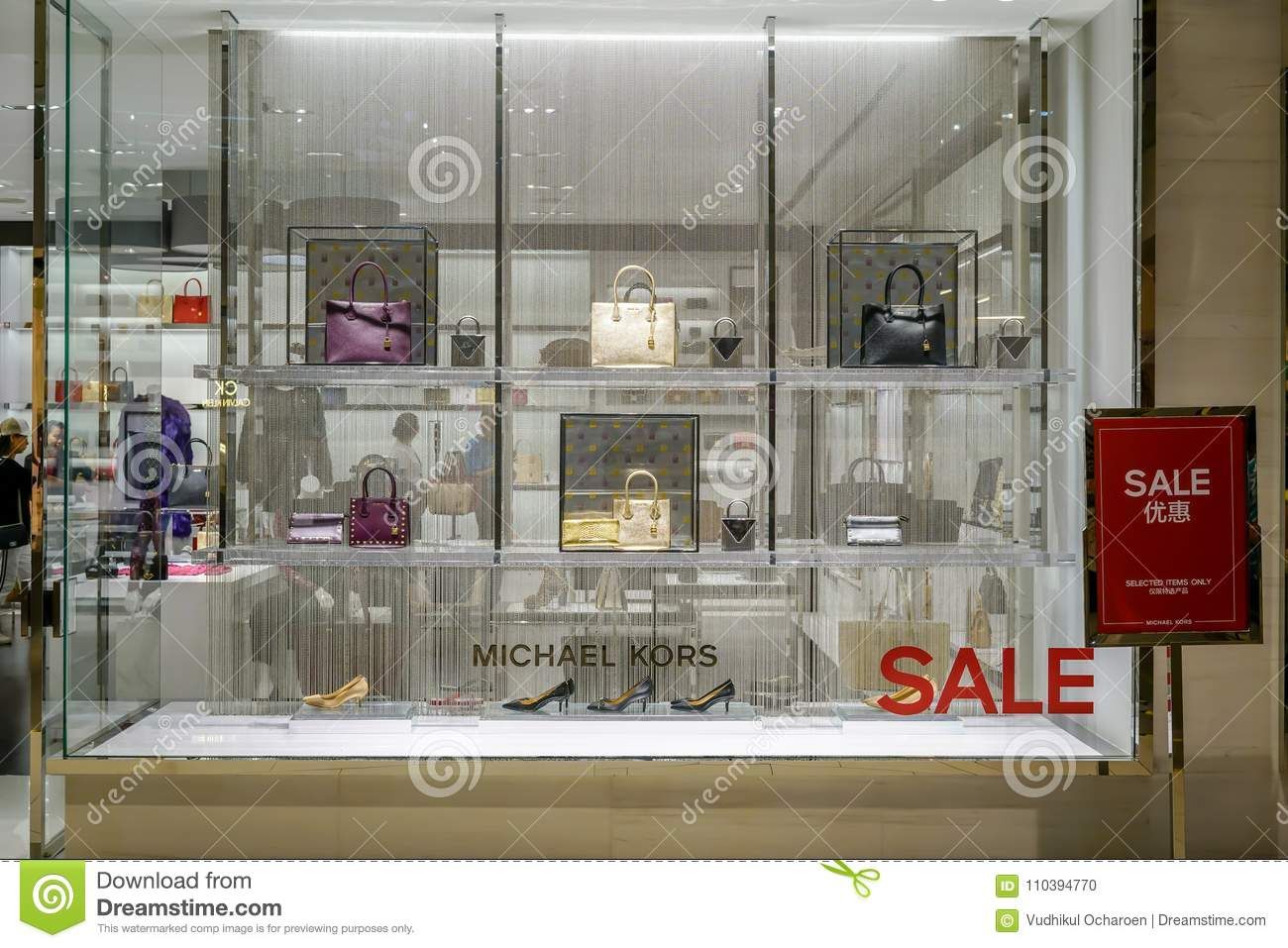 647faa5f4b5f Michael Kors shop at Emquatier, Bangkok, Thailand, Nov 25, 2017 : Luxury  and fashionable brand window display. Casual woman bags and shoes on sales  in front ...