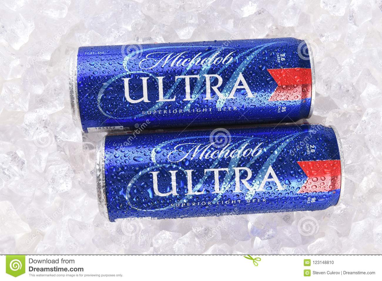 IRVINE, CA   AUGUST 6, 2018: Two Michelob Ultra Beer 12 Ounce Cans In Ice.  A A Low Carb And Low Calorie Light Beer From Anheuser Busch.