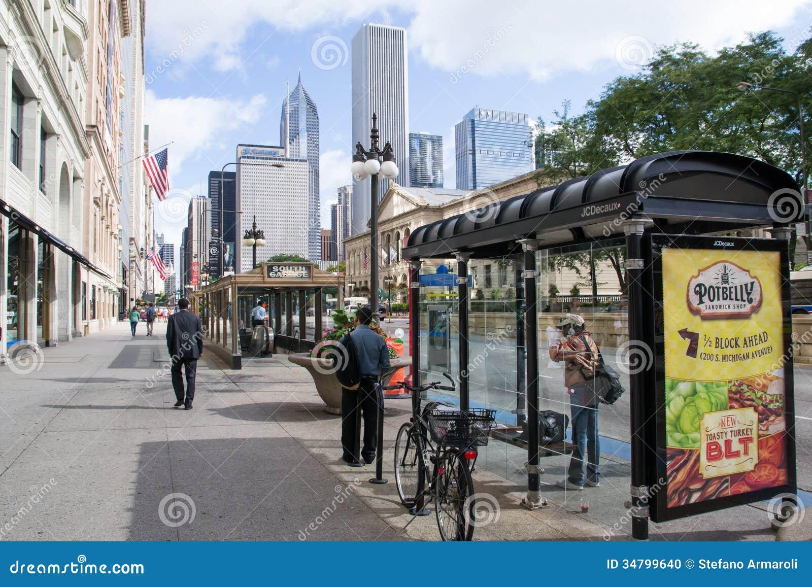 michigan avenue in chigago editorial image image 34799640. Black Bedroom Furniture Sets. Home Design Ideas