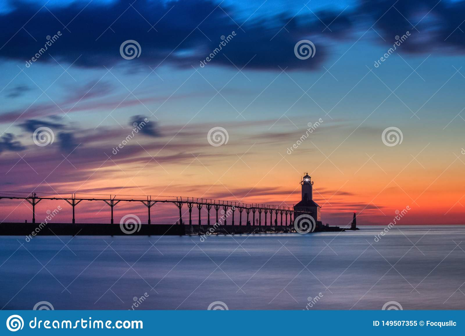 Michigan City East Pierhead Lighthouse After Sunset