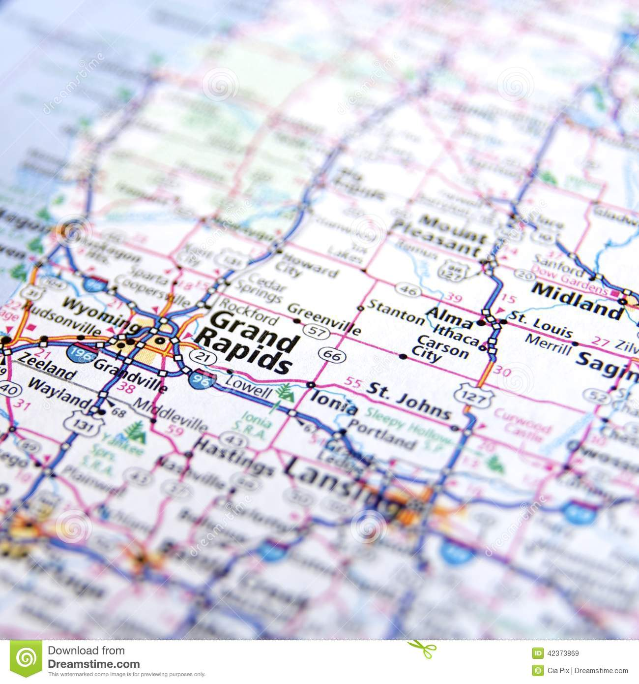 michigan highway map close up