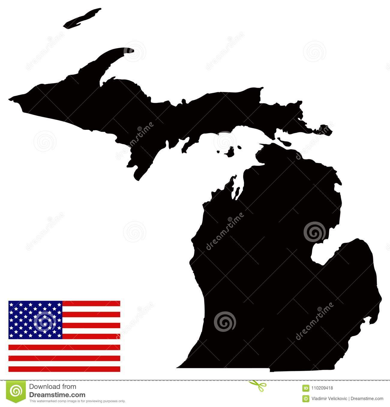 Michigan Map With USA Flag - State In The Great Lakes And Midwestern ...