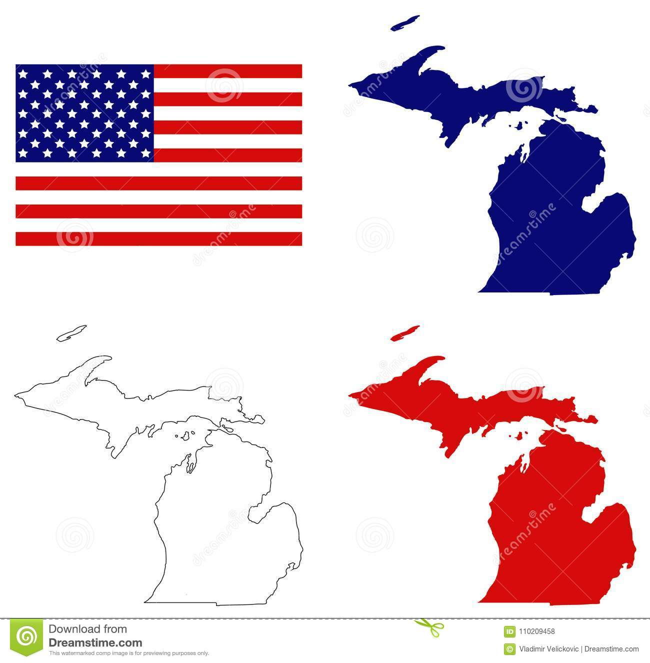 Map Of Usa Great Lakes.Michigan Map With Usa Flag State In The Great Lakes And Midwestern
