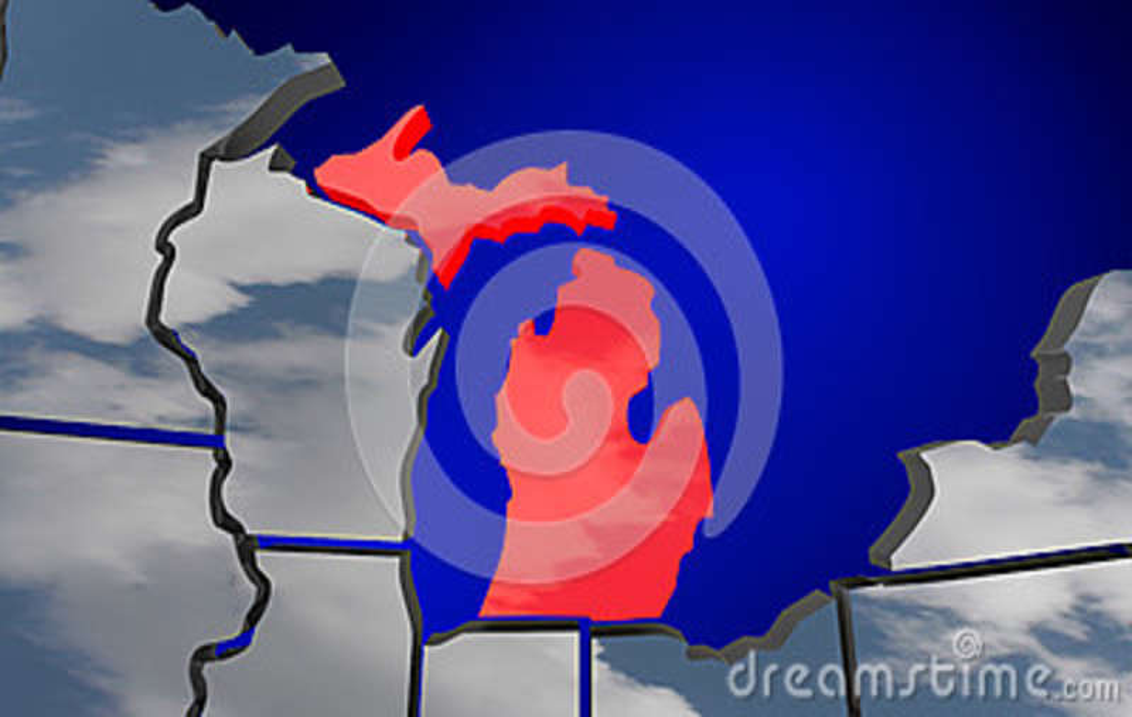 Michigan MI Map Clouds USA United States America Weather ...
