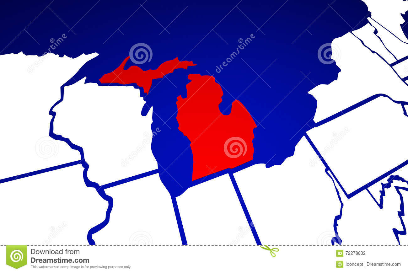 Michigan MI State United States Of America State Map Stock - Mi state map