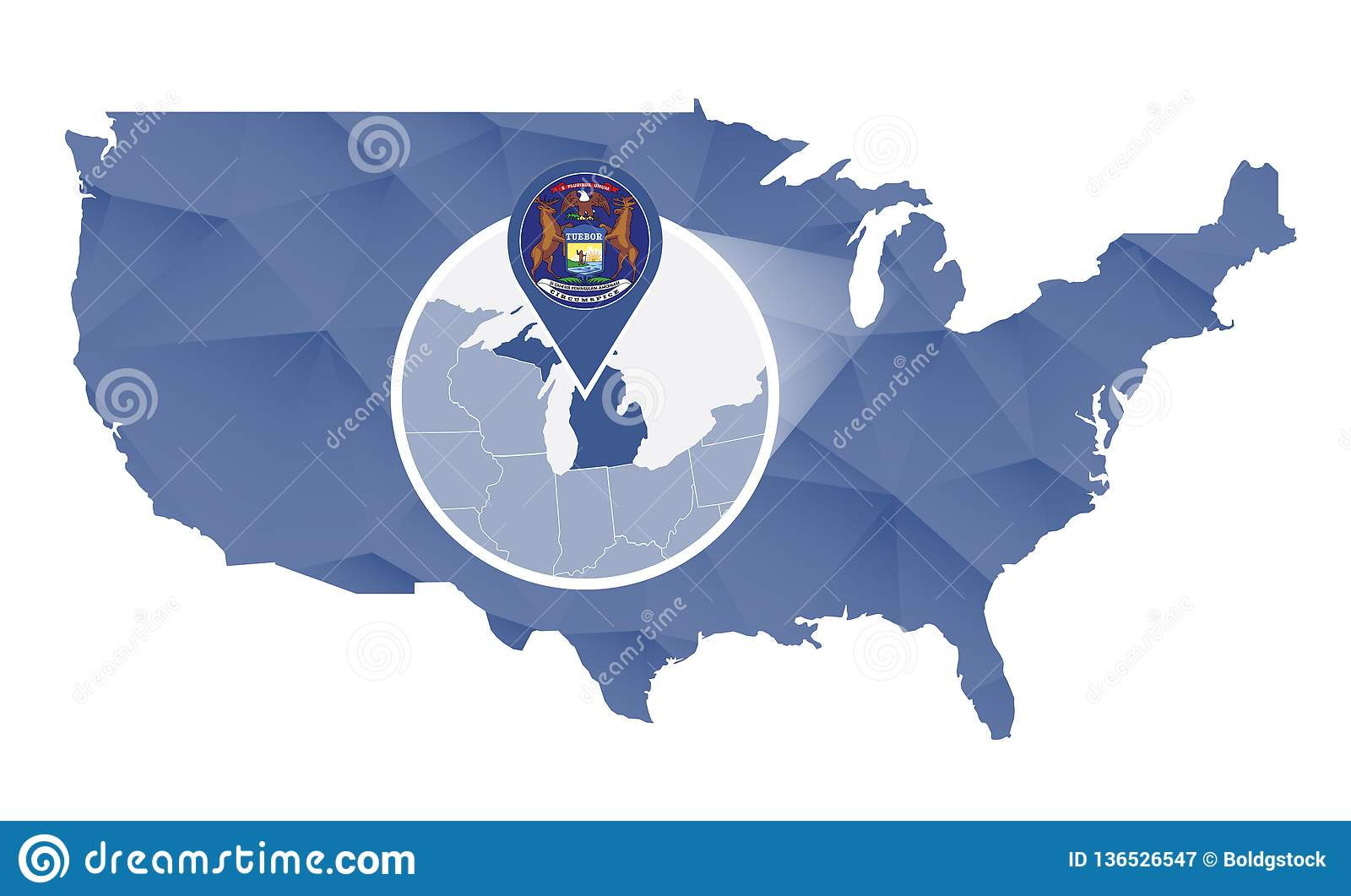 Michigan State Magnified On United States Map Stock Vector - Us-map-michigan-state