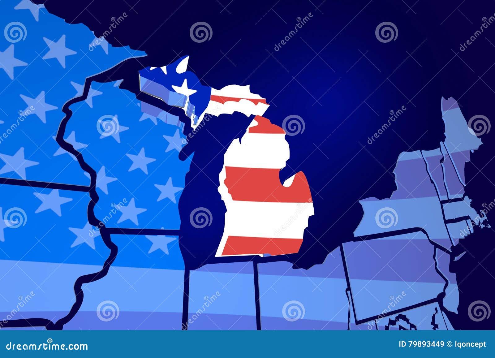Michigan State Map USA United States America Flag Stock - Michigan state map usa