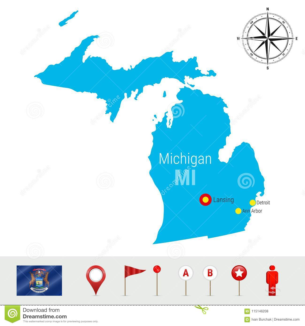 Detailed Michigan Map.Michigan Vector Map Isolated On White Background High Detailed
