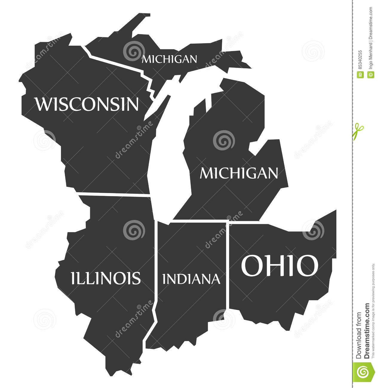 Michigan And Wisconsin Map.Michigan Wisconsin Illinois Indiana Ohio Map Labelled Bl