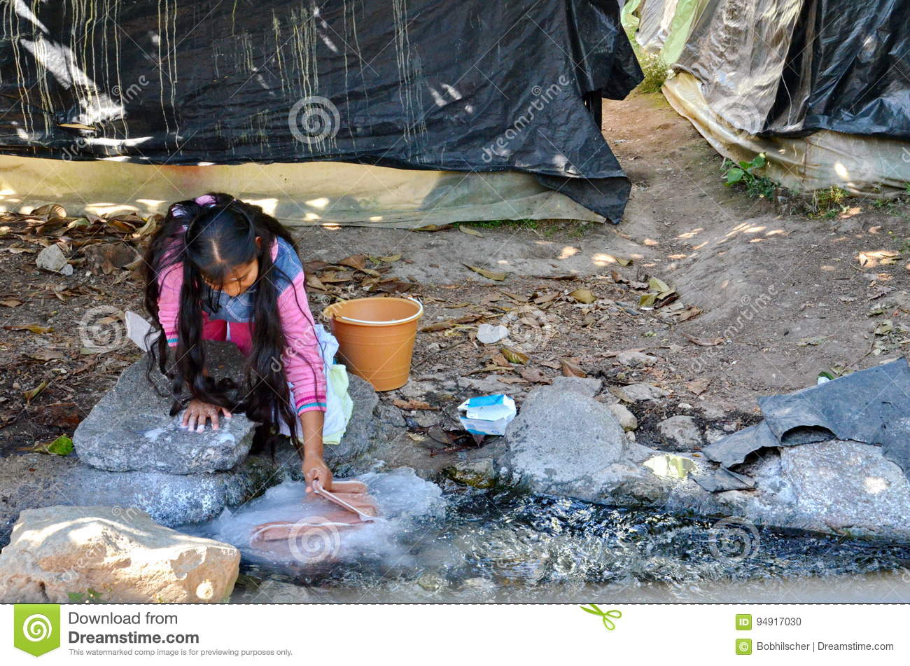 Michoacan Mexico January 15 Young Girl Washing Clothes By Hand