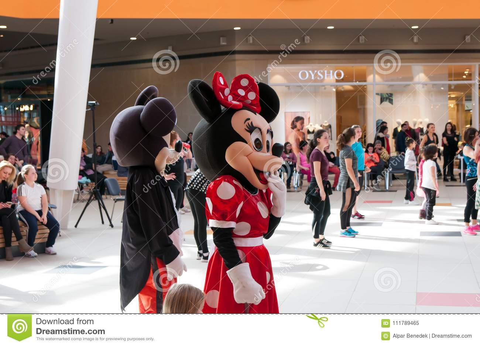 Mickey en Minnie-muisbeeldjes die omhoog de zumbadansers toejuichen