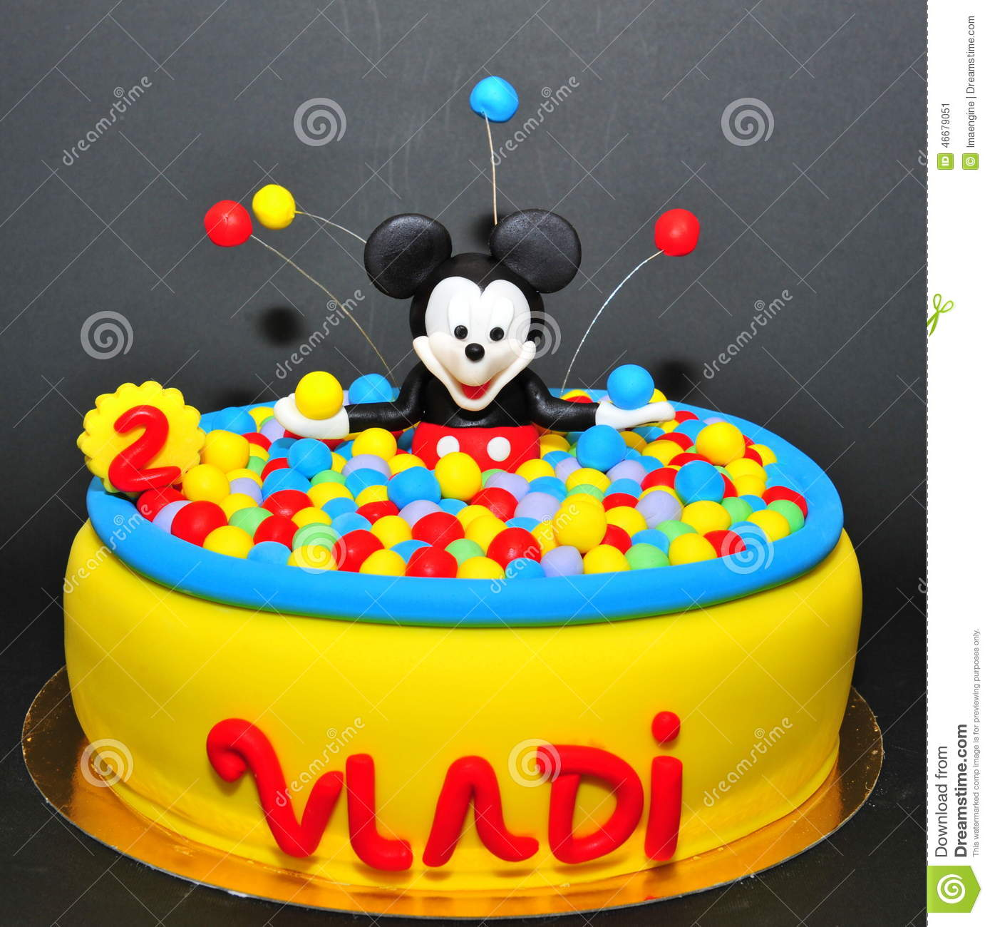 Mickey Mouse In Colorful Balls Pool Cake Editorial Photo - Image of
