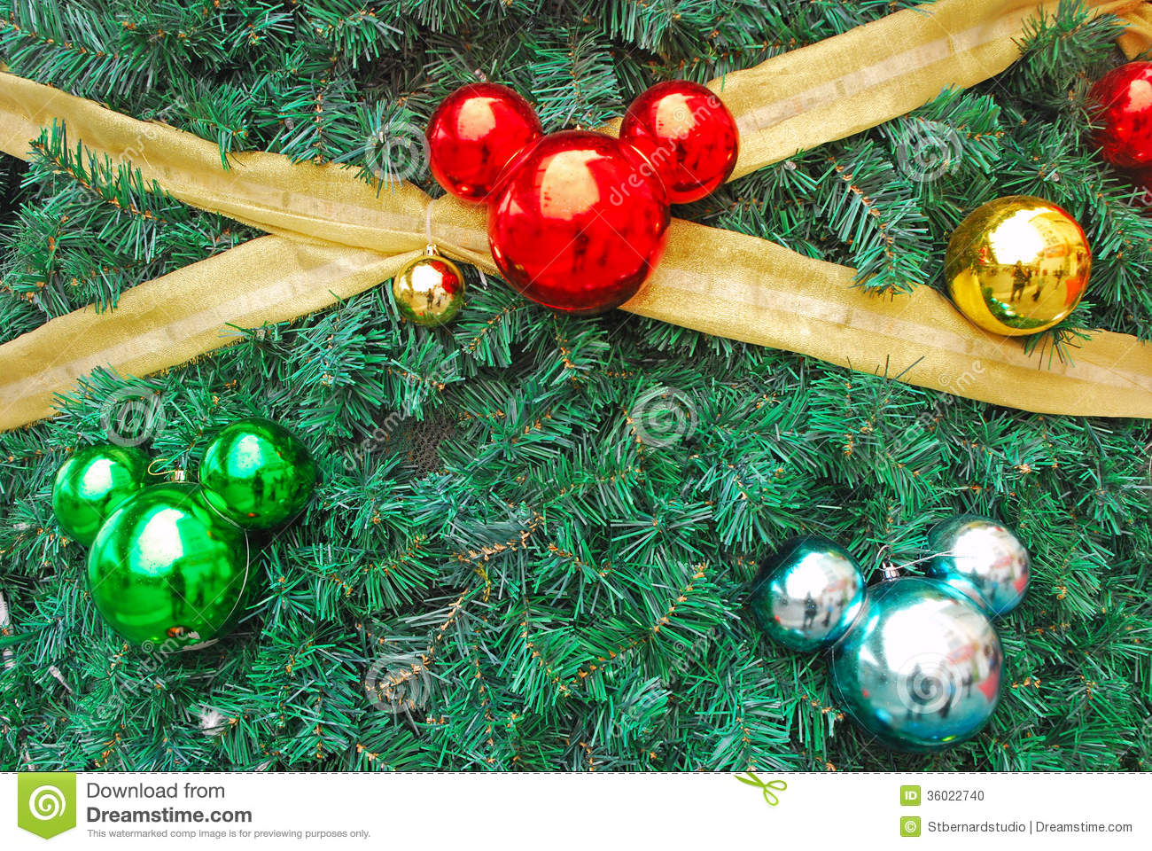 mickey mouse shaped ornaments as chistmas decorati