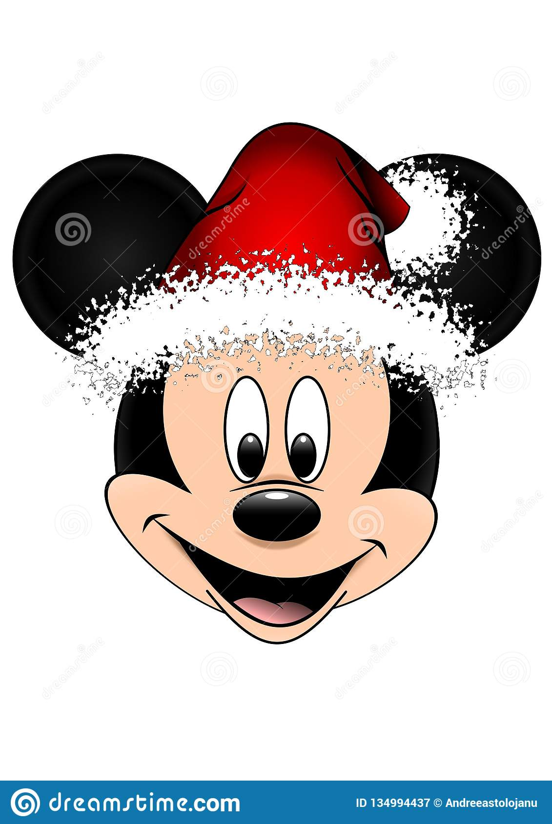 998d514c57baf Disney Vector Illustration Of Mickey Mouse With Red Christmas Hat ...