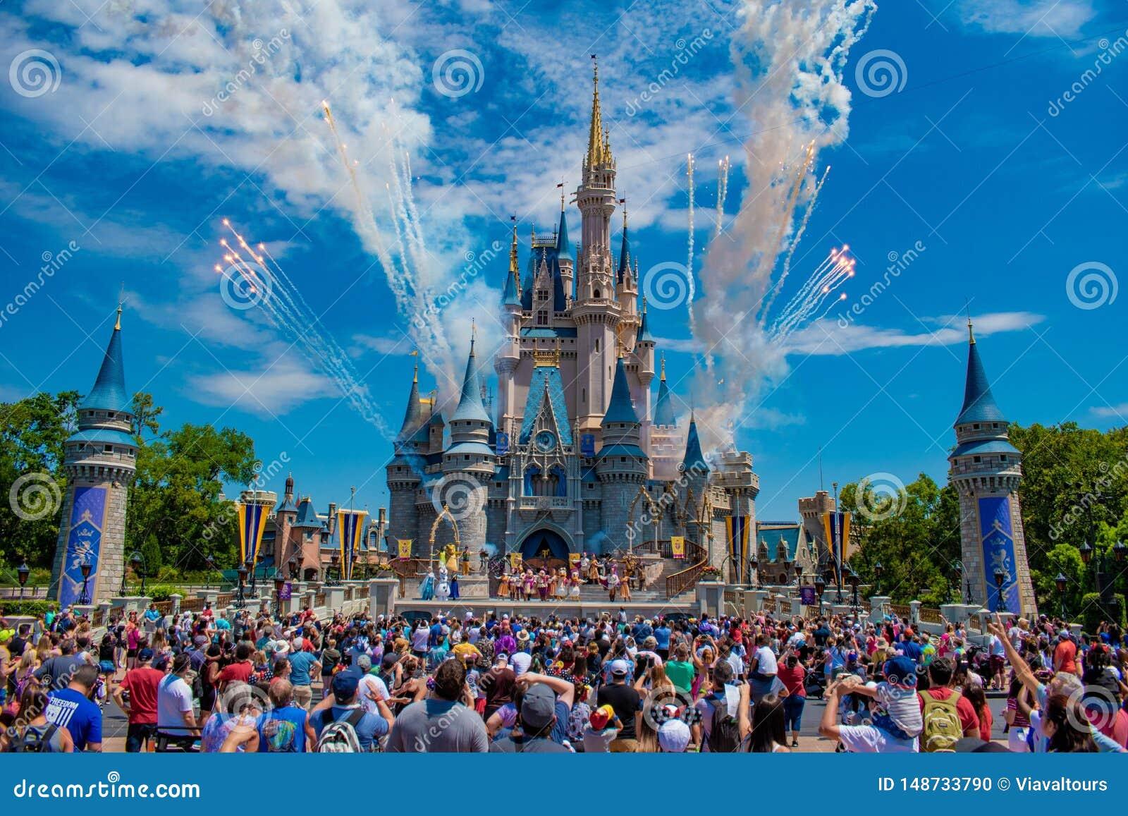 Mickey`s Royal Friendship Faire and fireworks on Cinderella Castle in Magic Kingdom at Walt Disney World Resort 2