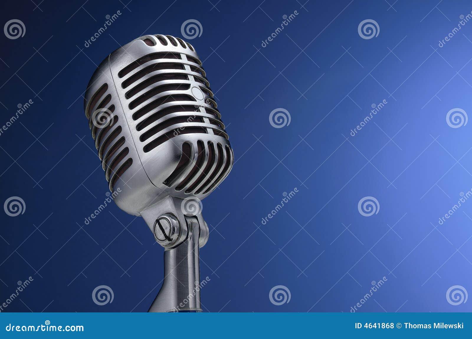 Micrófono de la vendimia en azul