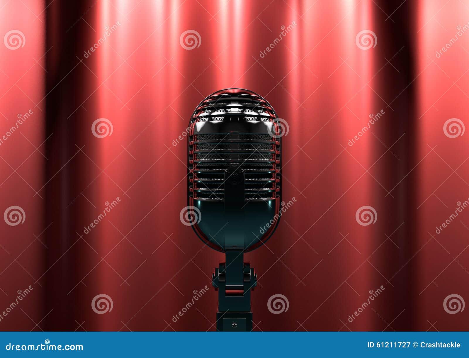 Micrófono del vintage en etapa con las cortinas rojas Luz cambiante de la etapa