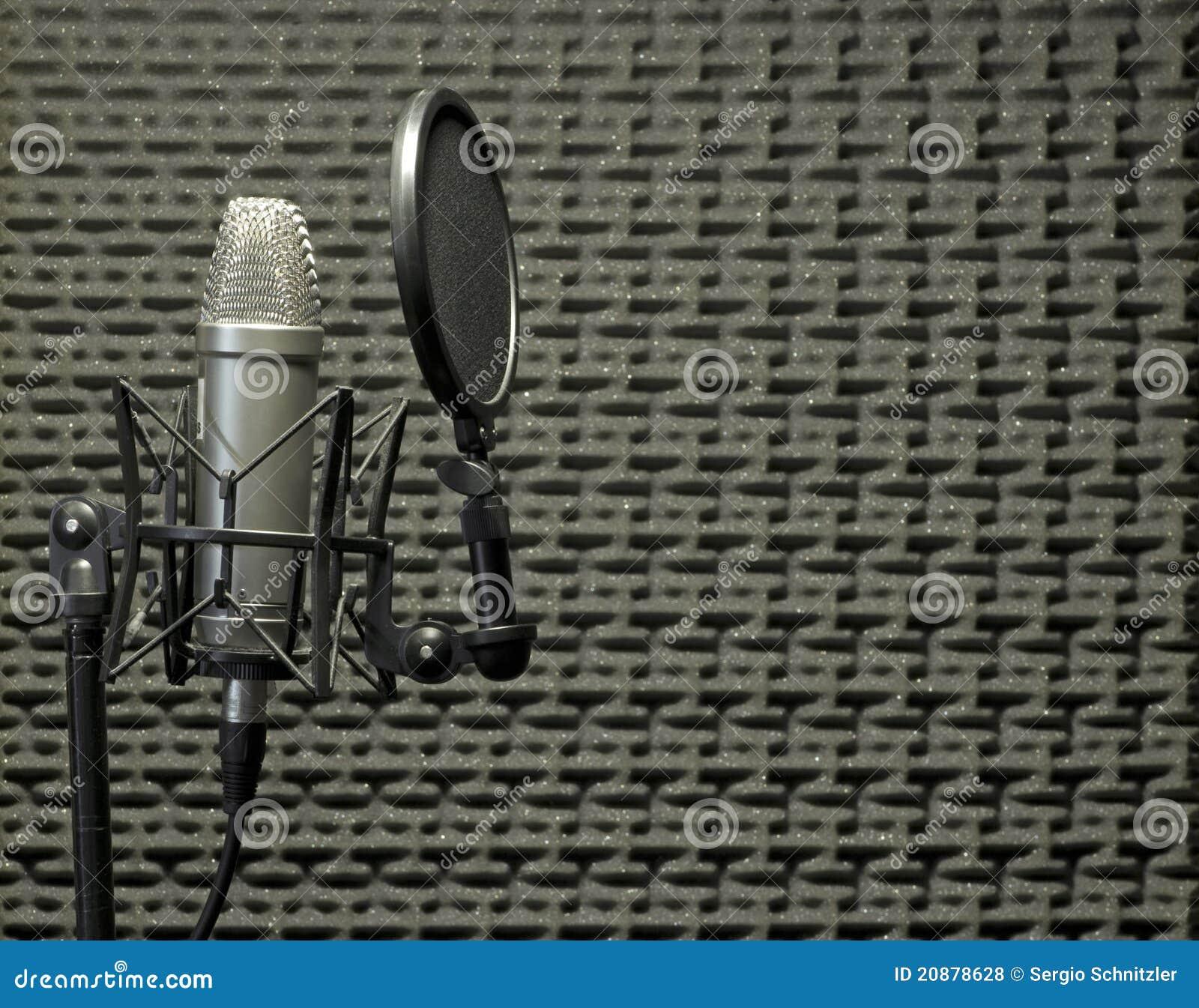 Micrófono en cabina acústica