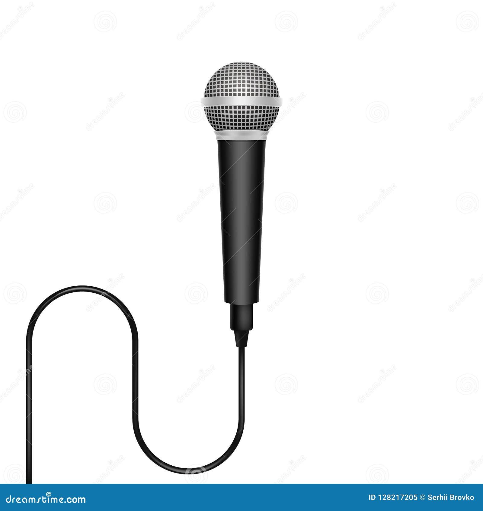 Micrófono realista aislado en el fondo blanco Ilustración del vector