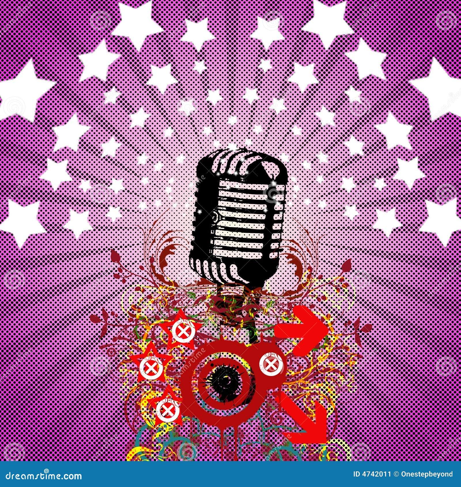Microfono Retro Aviador Del Partido Stock De Ilustracion