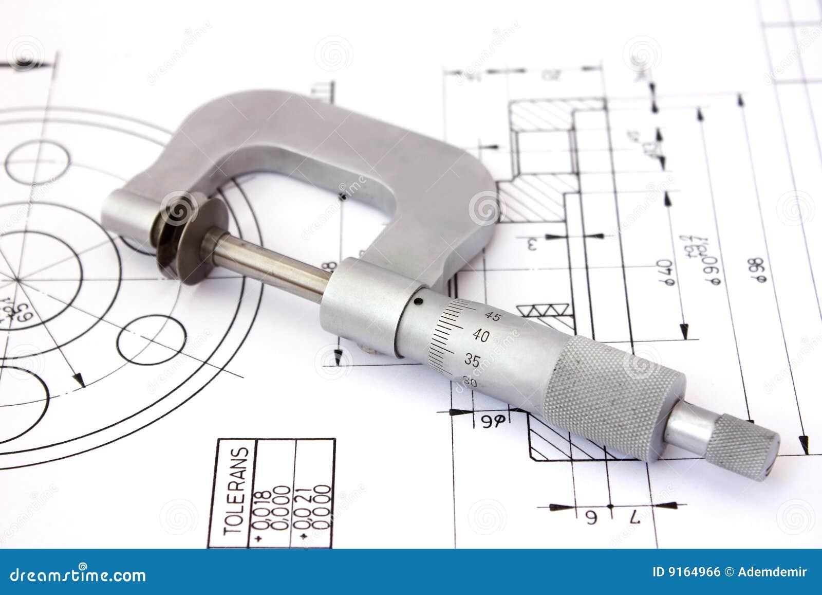 Micrômetro no desenho técnico. Horizontal