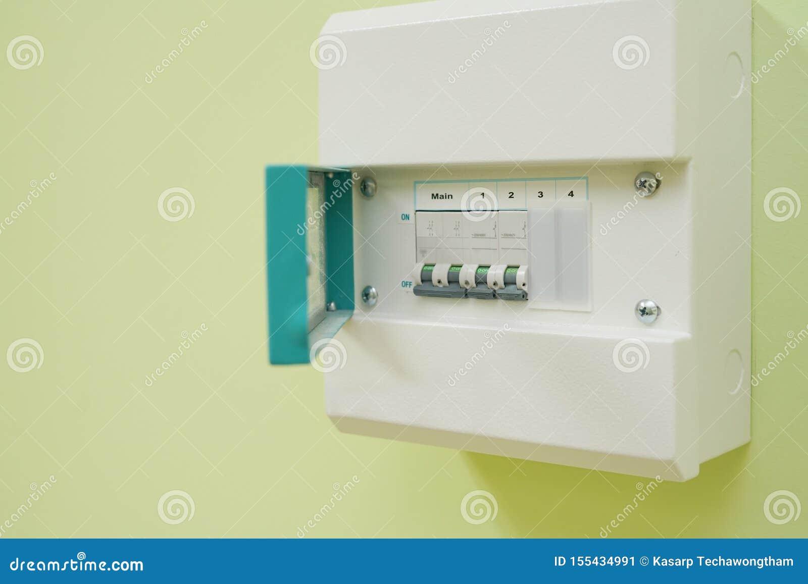 fuse box or breaker box micro circuit breaker or electrical breaker and consumer unit or  circuit breaker or electrical breaker
