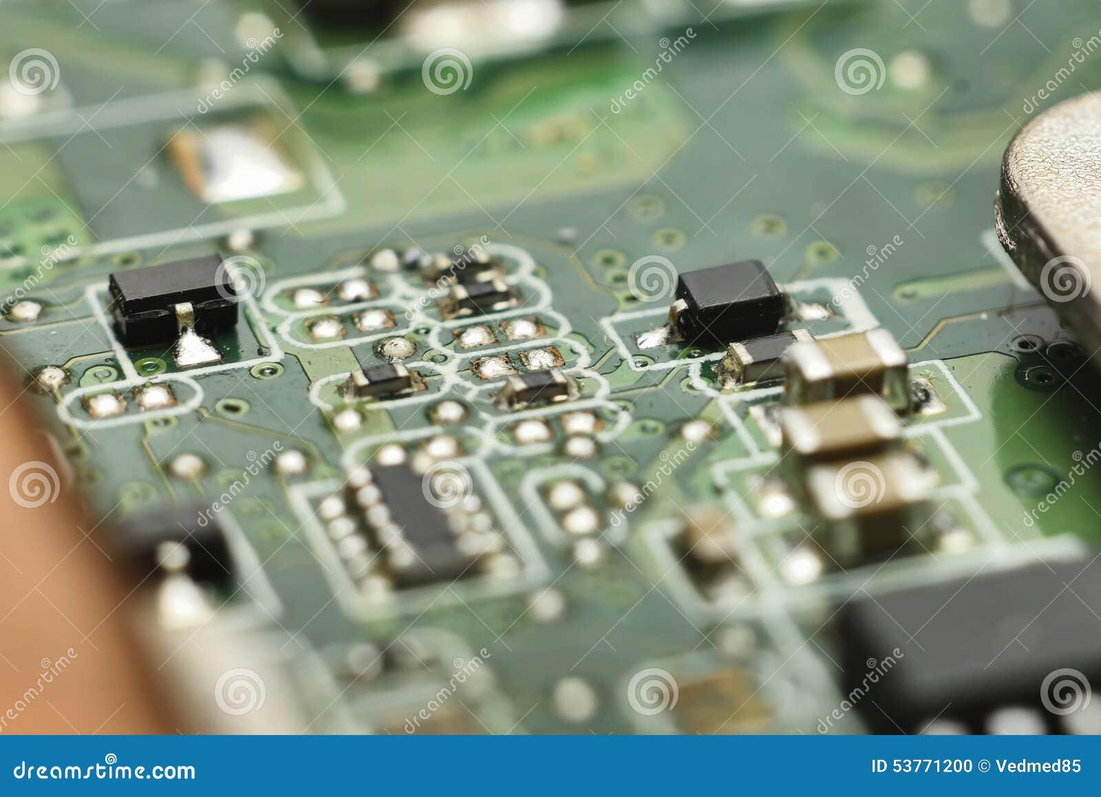 Micro- elektronika hoofdraad met bewerkers, dioden, transistors