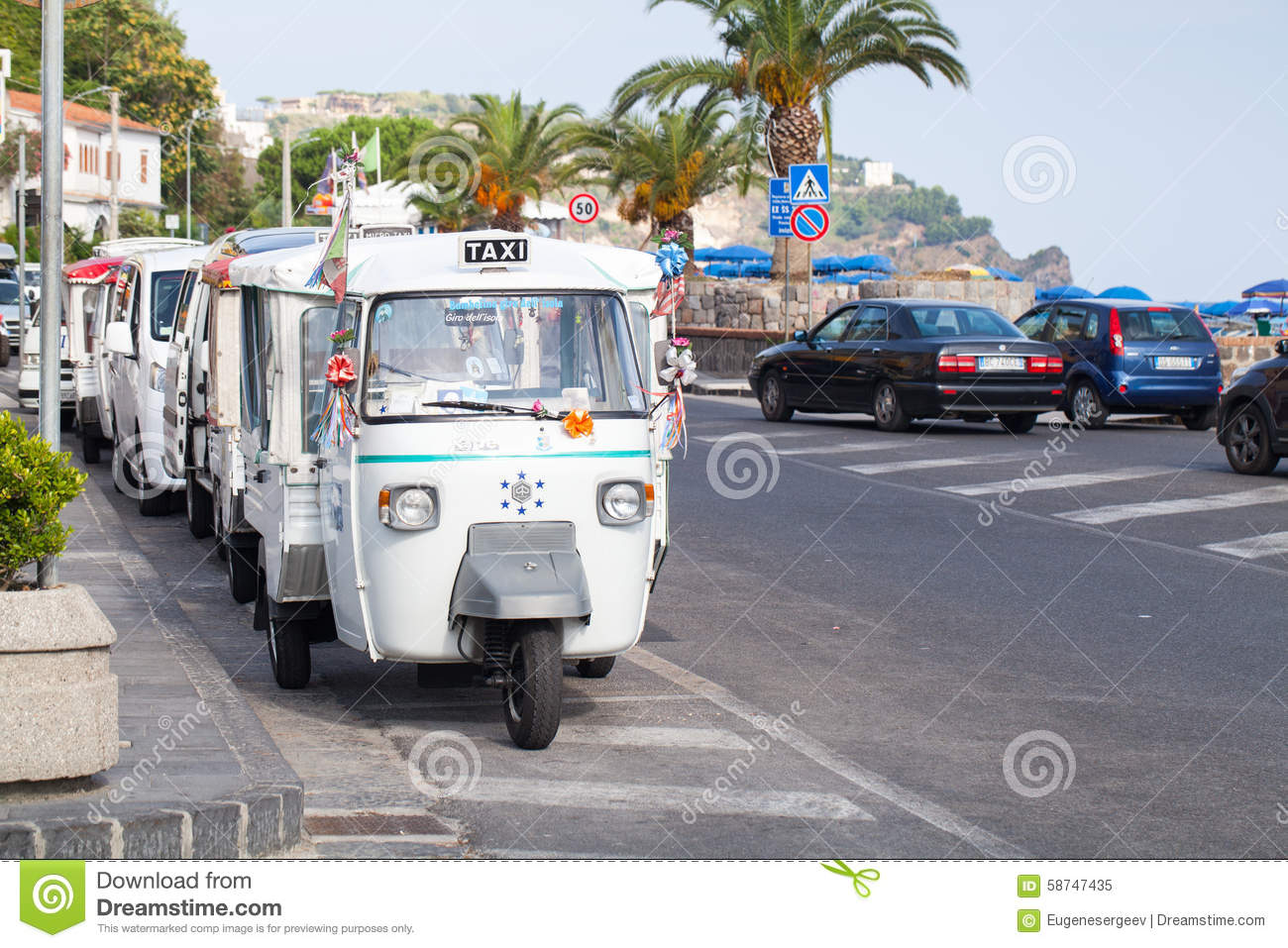 Casamicciola Terme Italy  City new picture : Casamicciola Terme, Italy August 12, 2015: Micro taxi stand parked ...