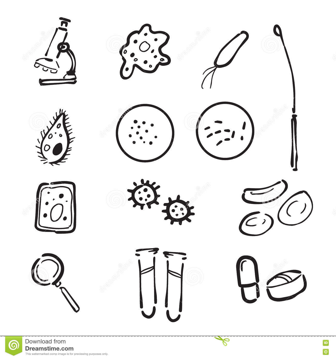 The microbiology coloring book free download - Microbiology Lab Doodle Icons Set Stock Photo
