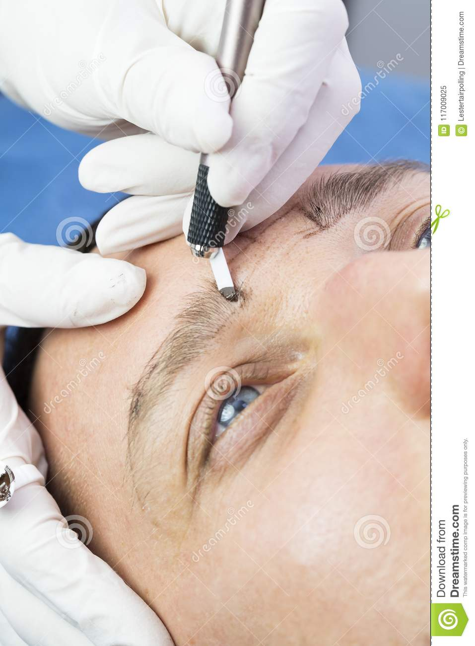 Microblading Eyebrows Workflow Stock Image - Image of