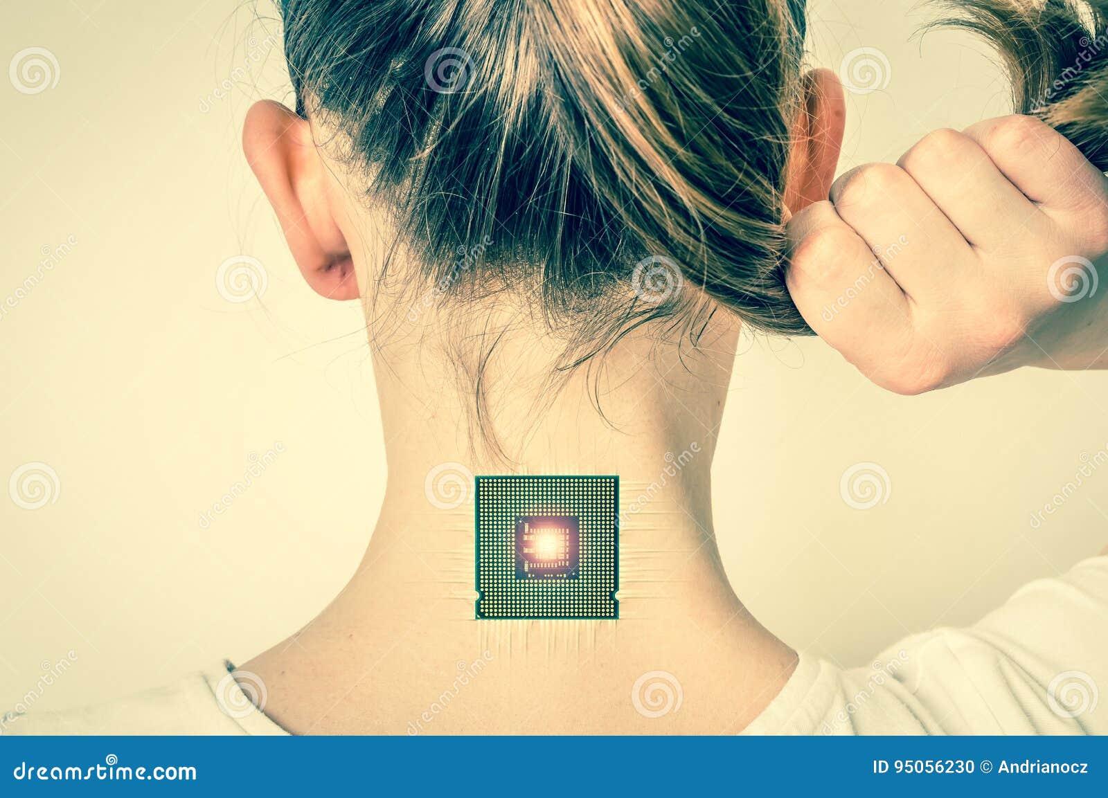 Microchip Biónico Dentro Del Cuerpo Humano - Estilo Retro Foto de ...