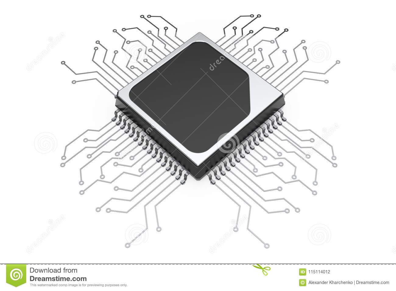 Microchip Cpu Processor With Circuit 3d Rendering Stock Diagram Of A On White Background