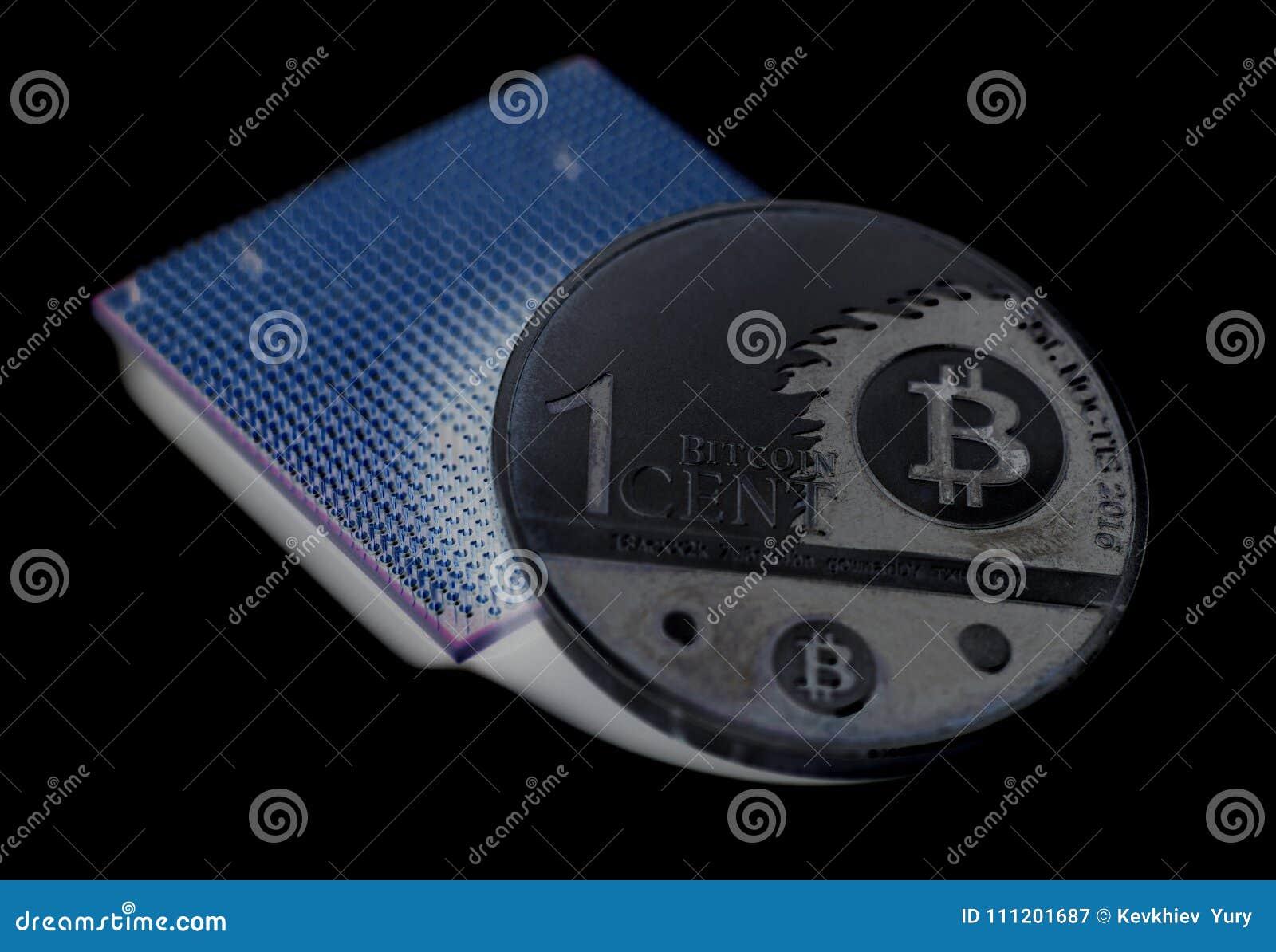 Microchip del CPU dell unità centrale di elaborazione con Bitcoin