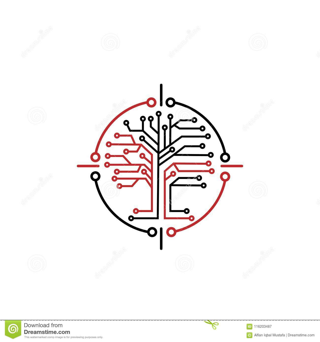 technology background with microchip and brain  cartoon vector