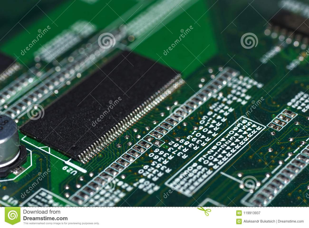 microchips, radioelements, processor on the electronic boardmotherboard is the main printed circuit board found in general purpose microcomputers and other expandable systems