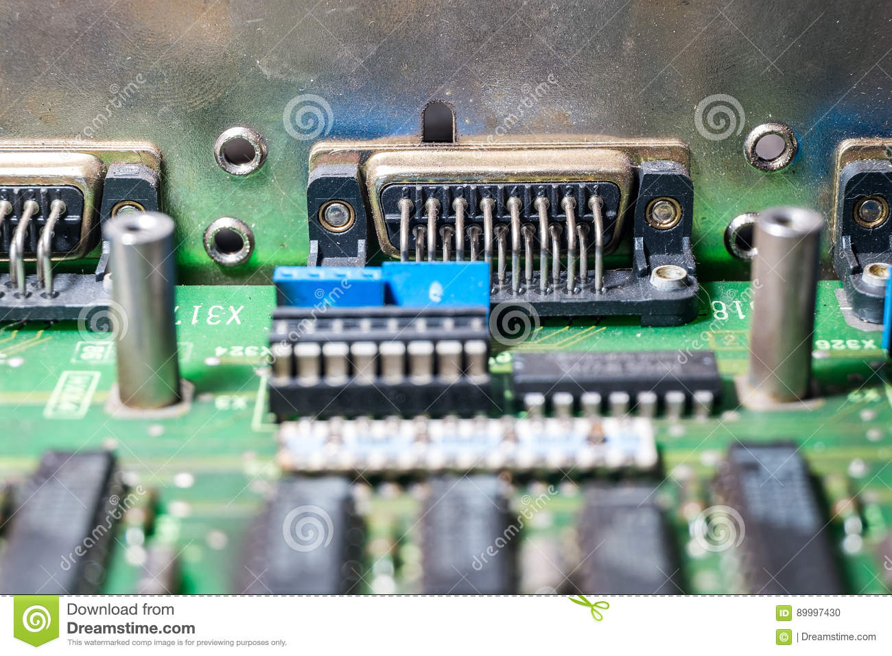 Microchips And Transistors On A Circuit Board Stock Photo Image Of Green Electrical With Royalty