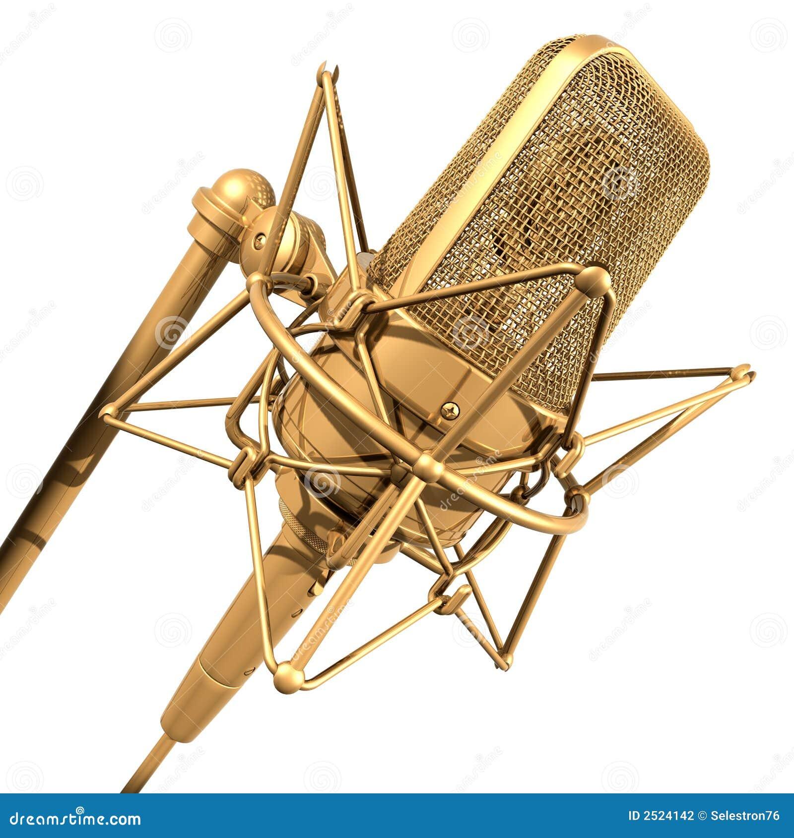 Microfone do profissional do ouro