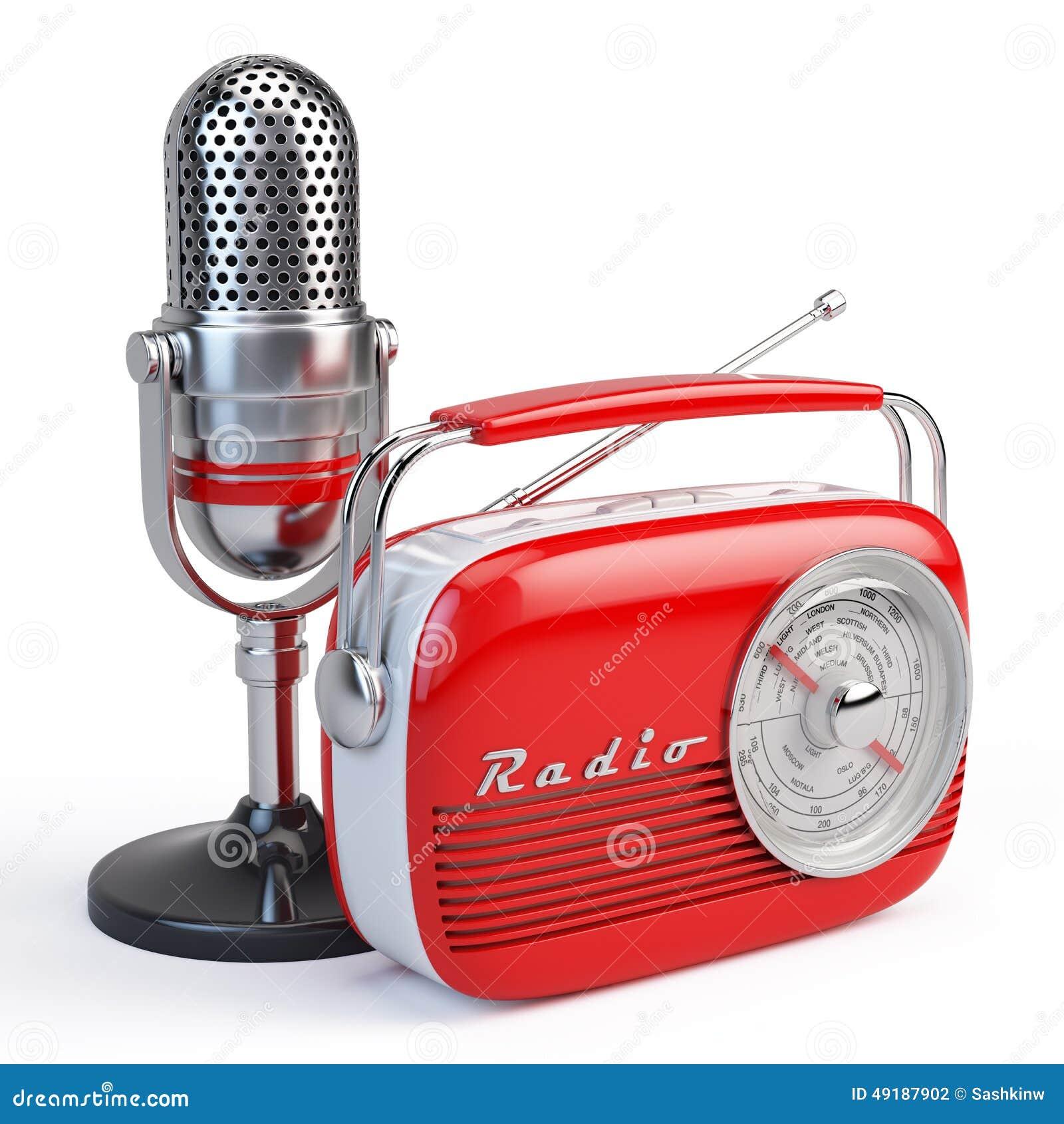 Microfone e rádio retro