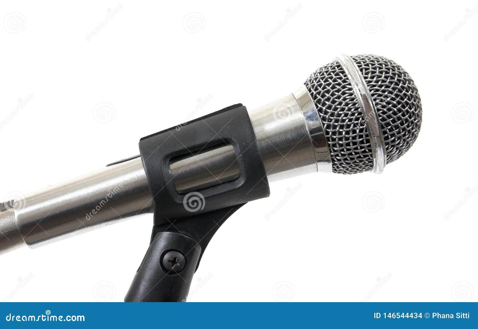Microfono d argento isolato su fondo bianco Microfono isolato