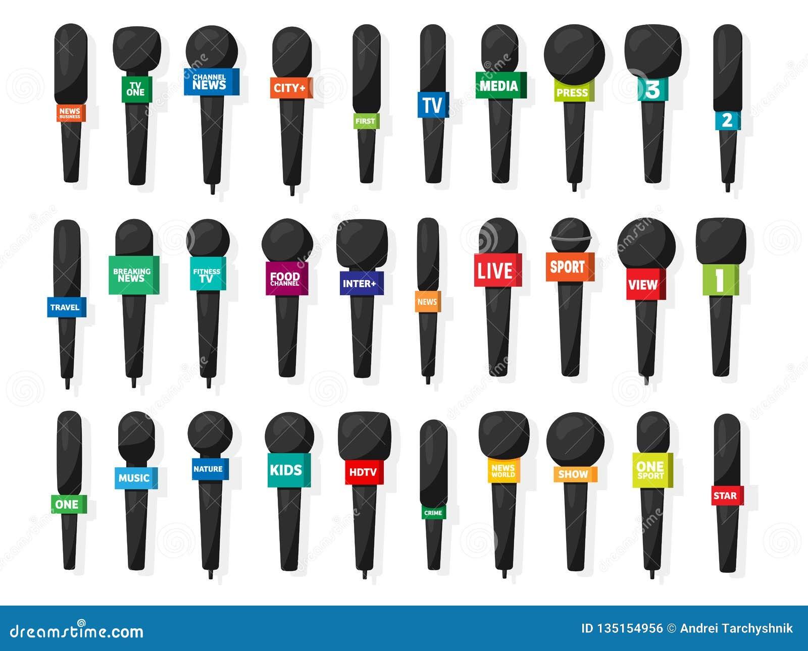 Microfoon, verslaggeversmateriaal in vlakke stijl De massamedia, TV-televisie tonen Televergadering en gesprek broadcasting