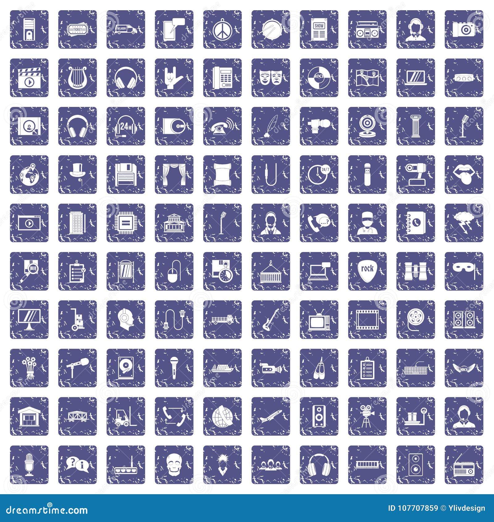 Download 100 Microfoonpictogrammen Geplaatst Grunge Saffier Vector Illustratie - Illustratie bestaande uit hoogte, lader: 107707859