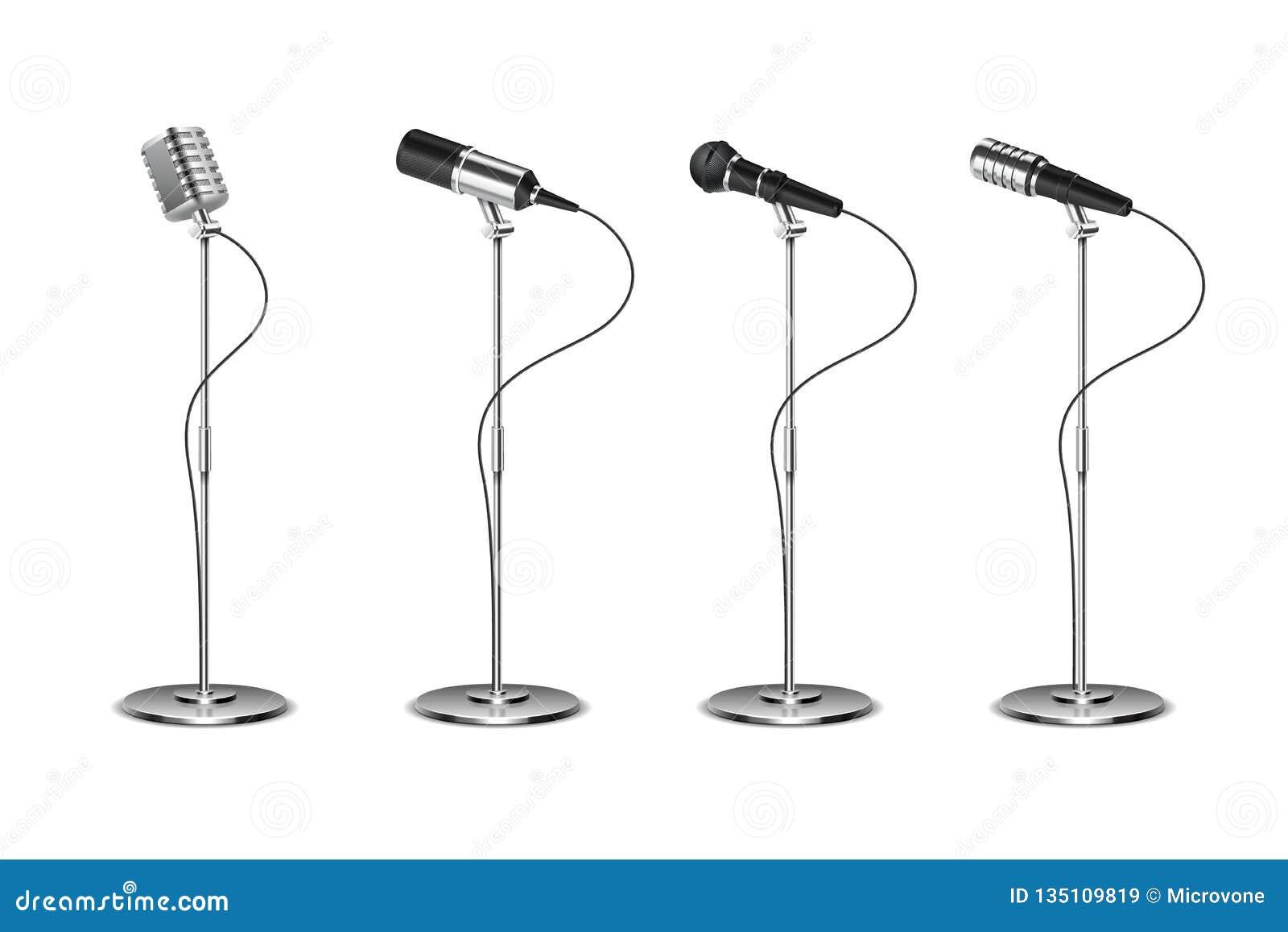 Microfoonreeks Bevindend microfoons audiomateriaal Concept en karaokemuziek mics vector geïsoleerde inzameling