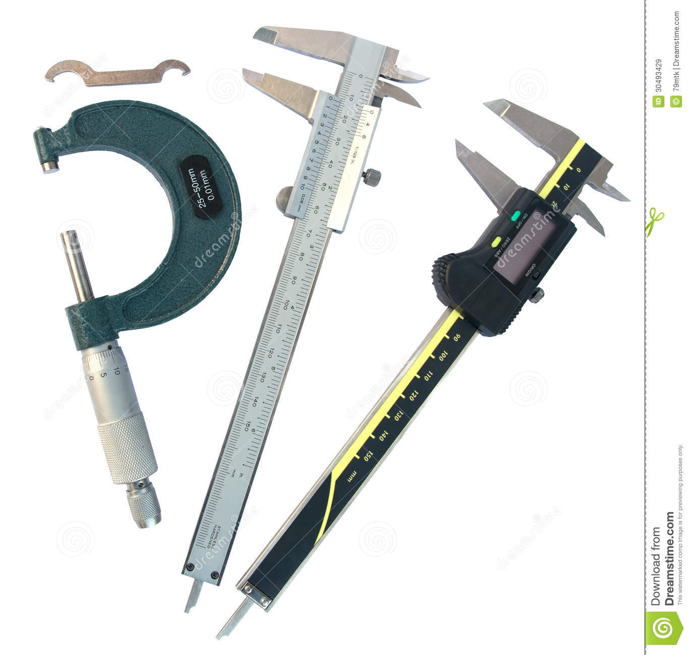 Experiments Instruments Measurement: Micrometer And Vernier Caliper (with Clipping Paths) Stock