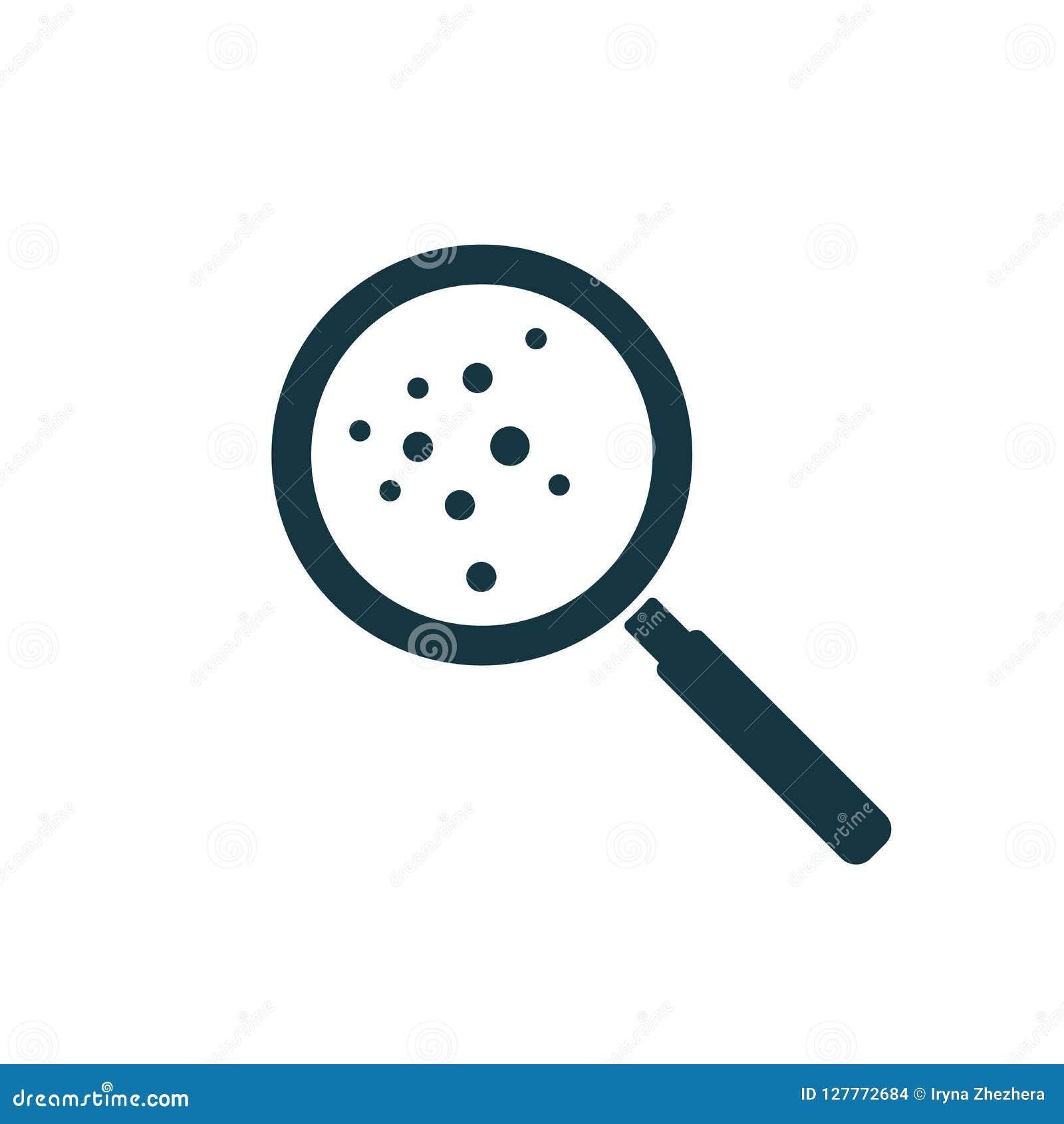 Microorganismos o migas bajo icono de la lupa para el web y el móvil, diseño plano minimalistic moderno Ilustración del vector