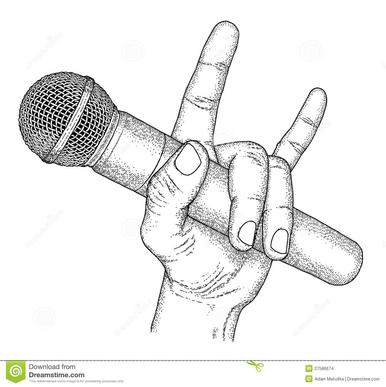 Line Art Microphone : Microphone stock vector illustration of drawn hand