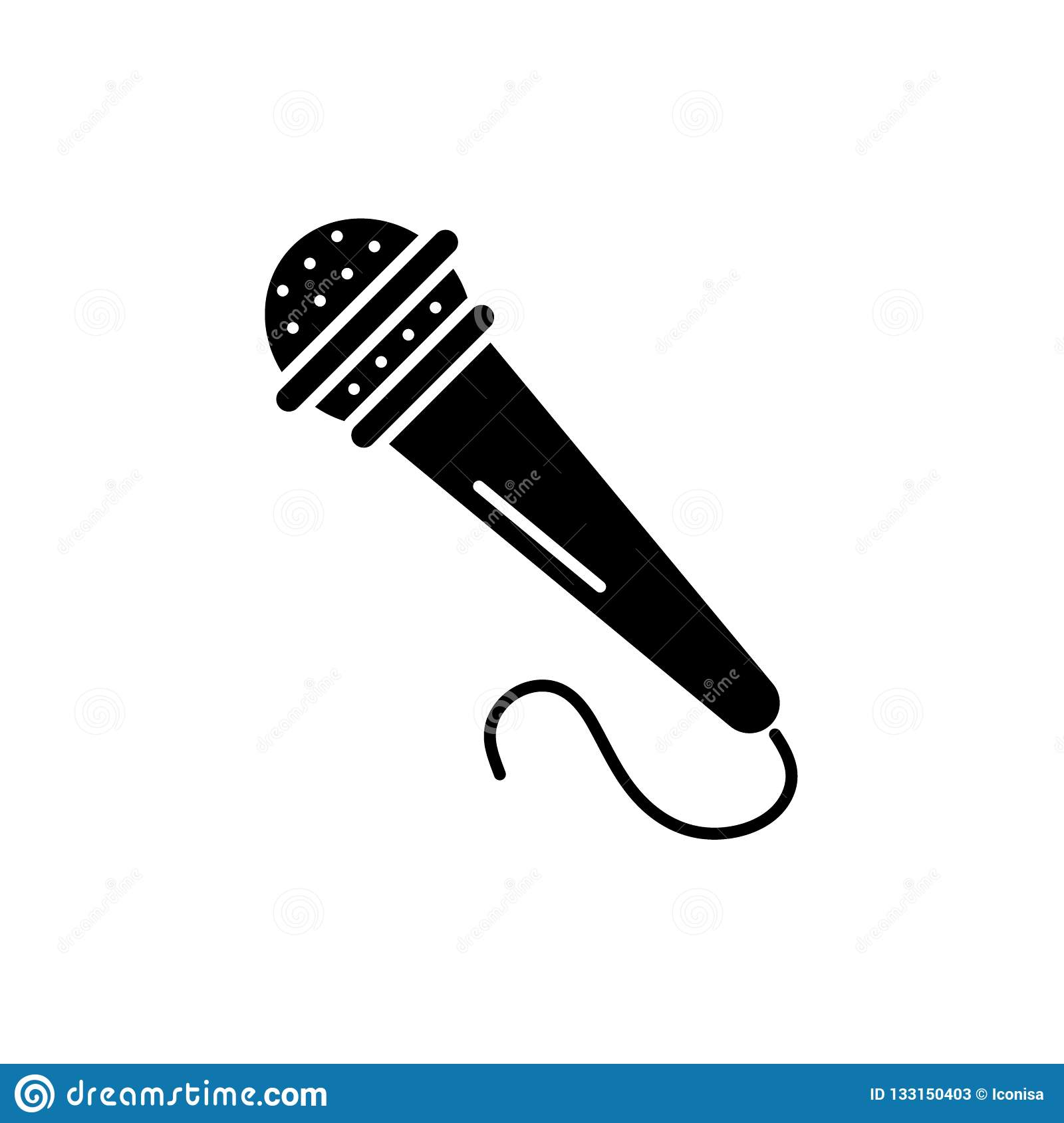 Microphone Black Icon  Vector Sign On Isolated Background  Microphone Concept Symbol